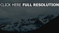 nebel berge gipfel schneebedeckt himmel