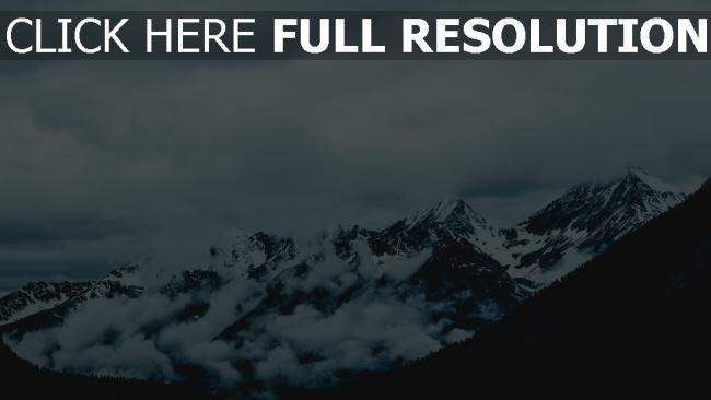 hd hintergrundbilder nebel berge gipfel schneebedeckt himmel