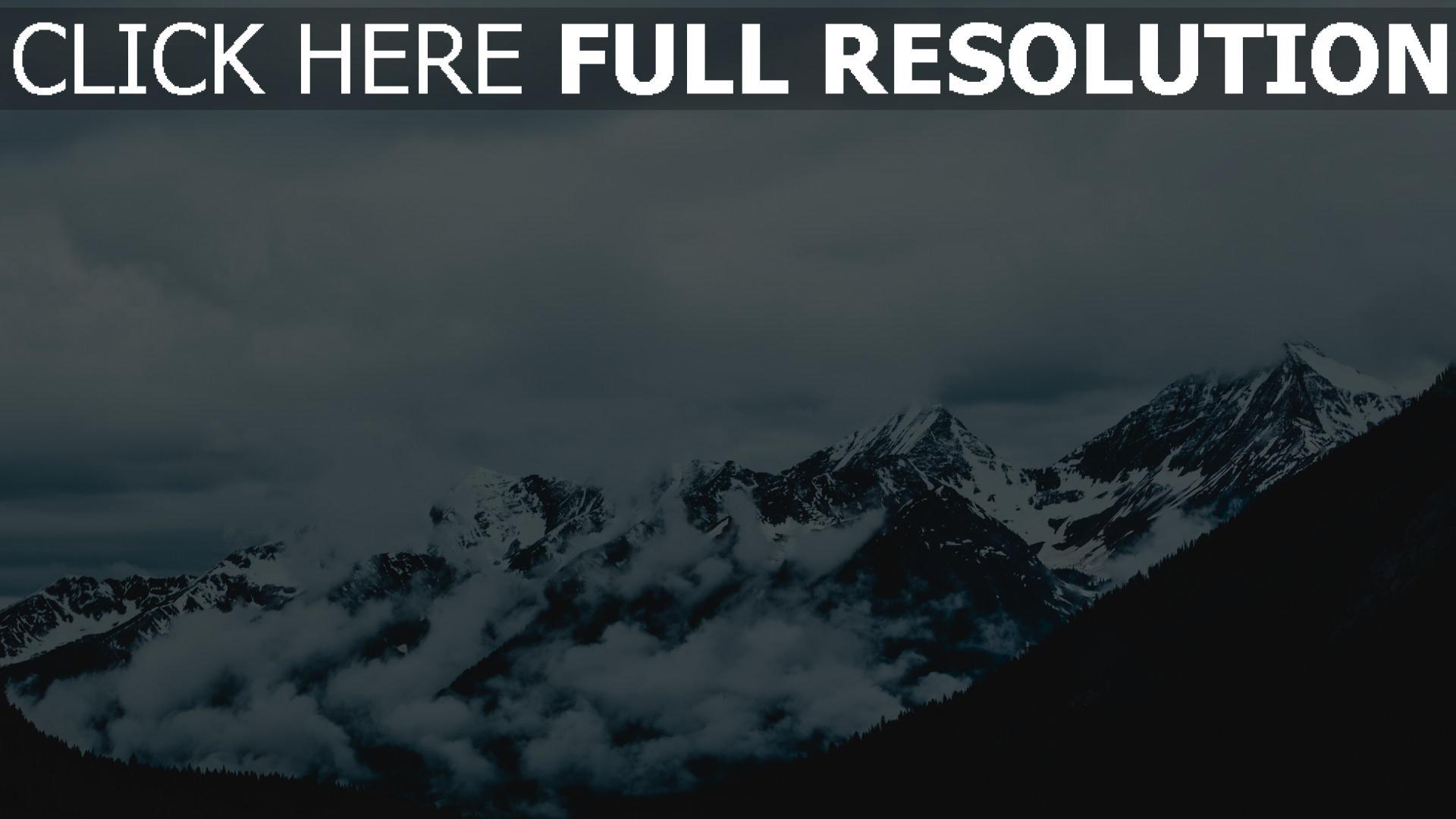 hd hintergrundbilder nebel berge gipfel schneebedeckt himmel 1920x1080