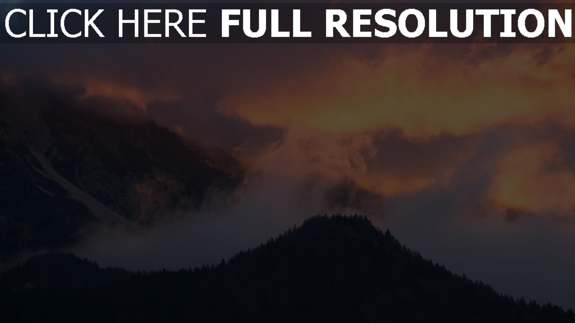 hd hintergrundbilder himmel sonnenuntergang bäume berge nebel 1920x1080