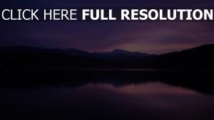berge nacht see reflexion