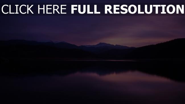 hd hintergrundbilder berge nacht see reflexion