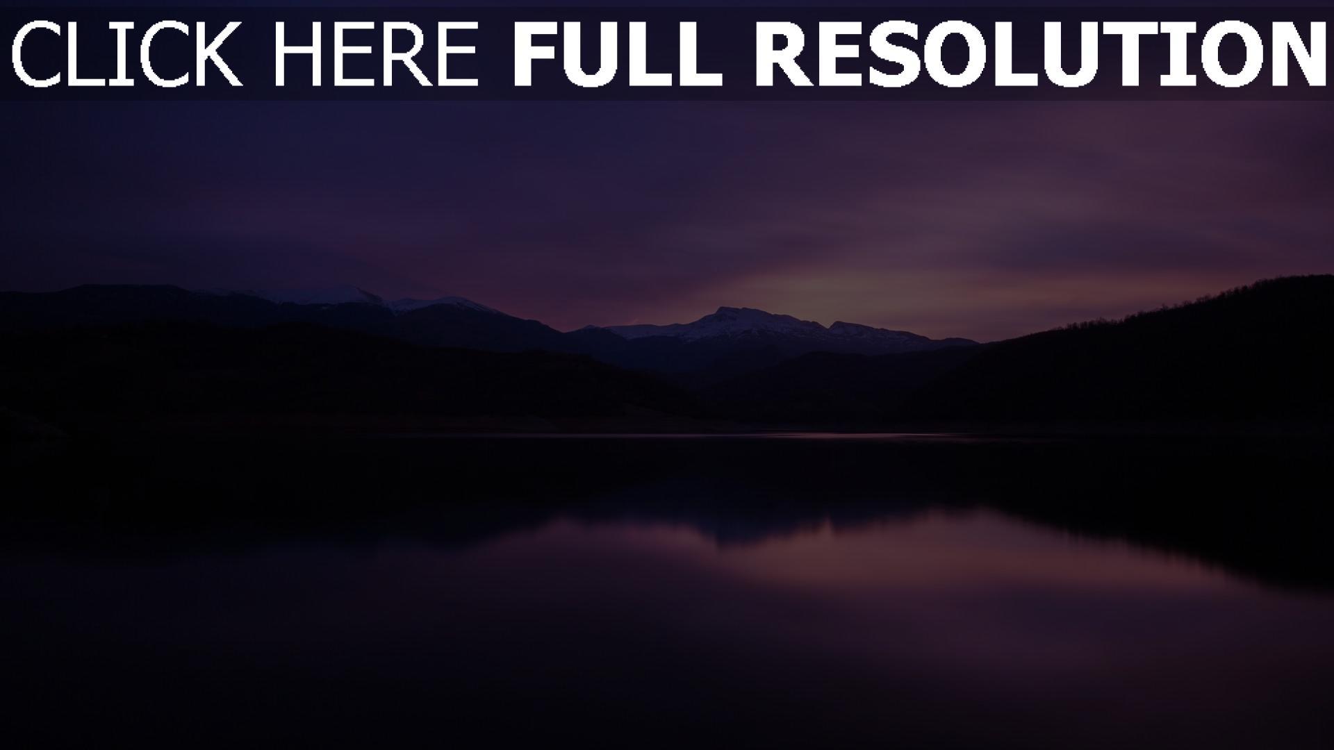 hd hintergrundbilder berge nacht see reflexion 1920x1080