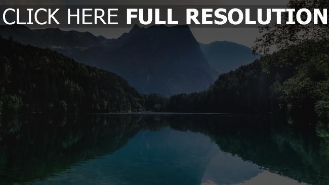 hd hintergrundbilder reflexion berge see