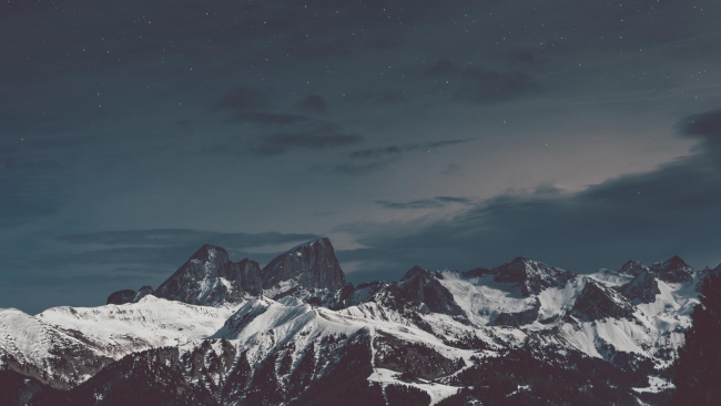 hd hintergrundbilder nacht schnee himmel berge