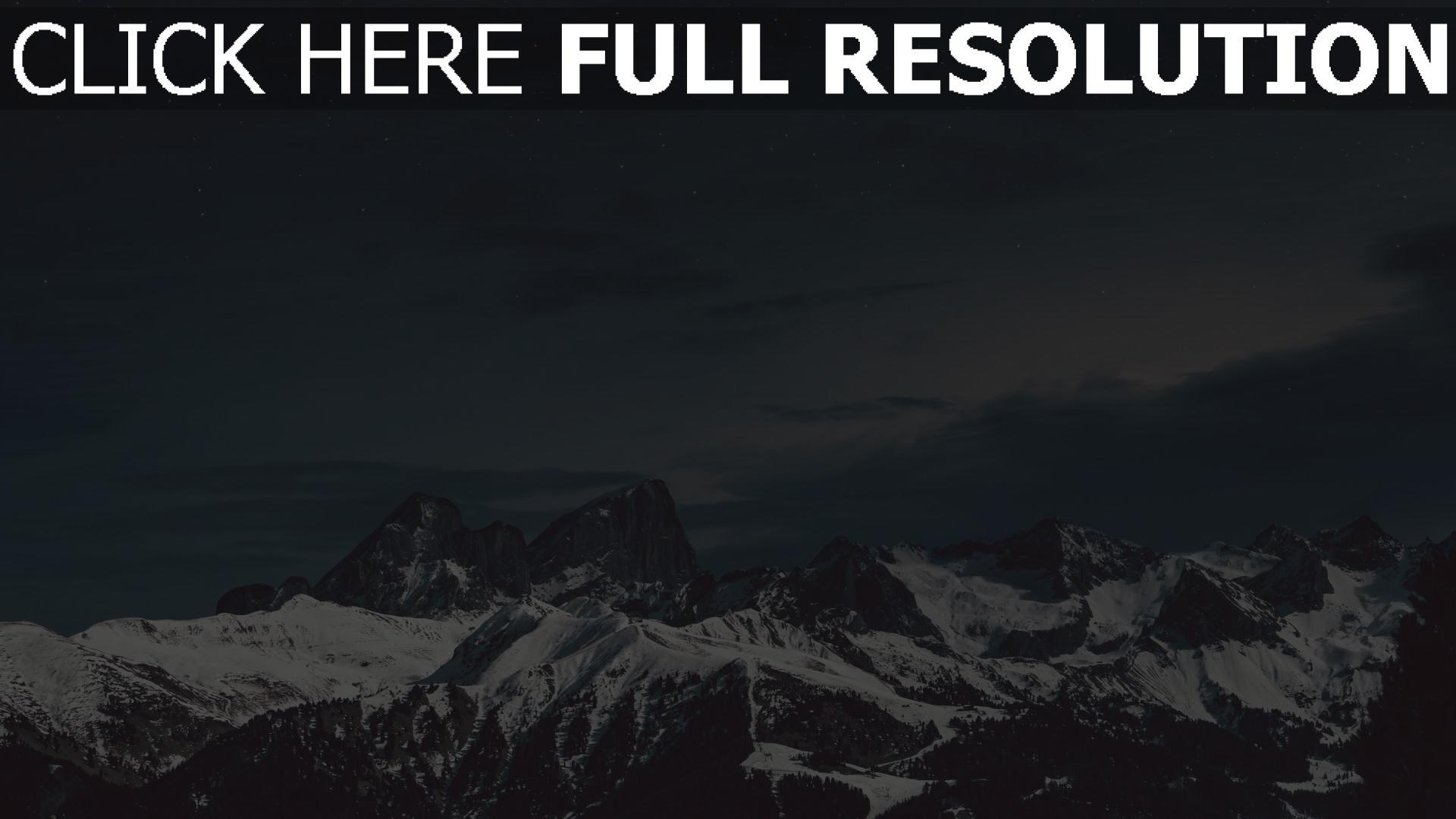 hd hintergrundbilder nacht schnee himmel berge 1920x1080