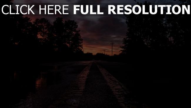 hd hintergrundbilder sonnenuntergang markierung bäume straße
