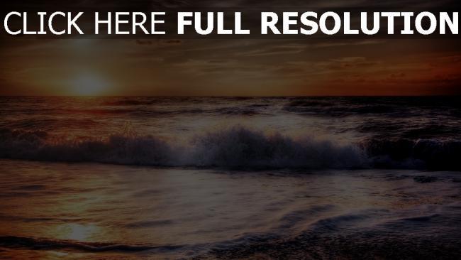 hd hintergrundbilder meer brandung schaum sonnenuntergang hdr ozean