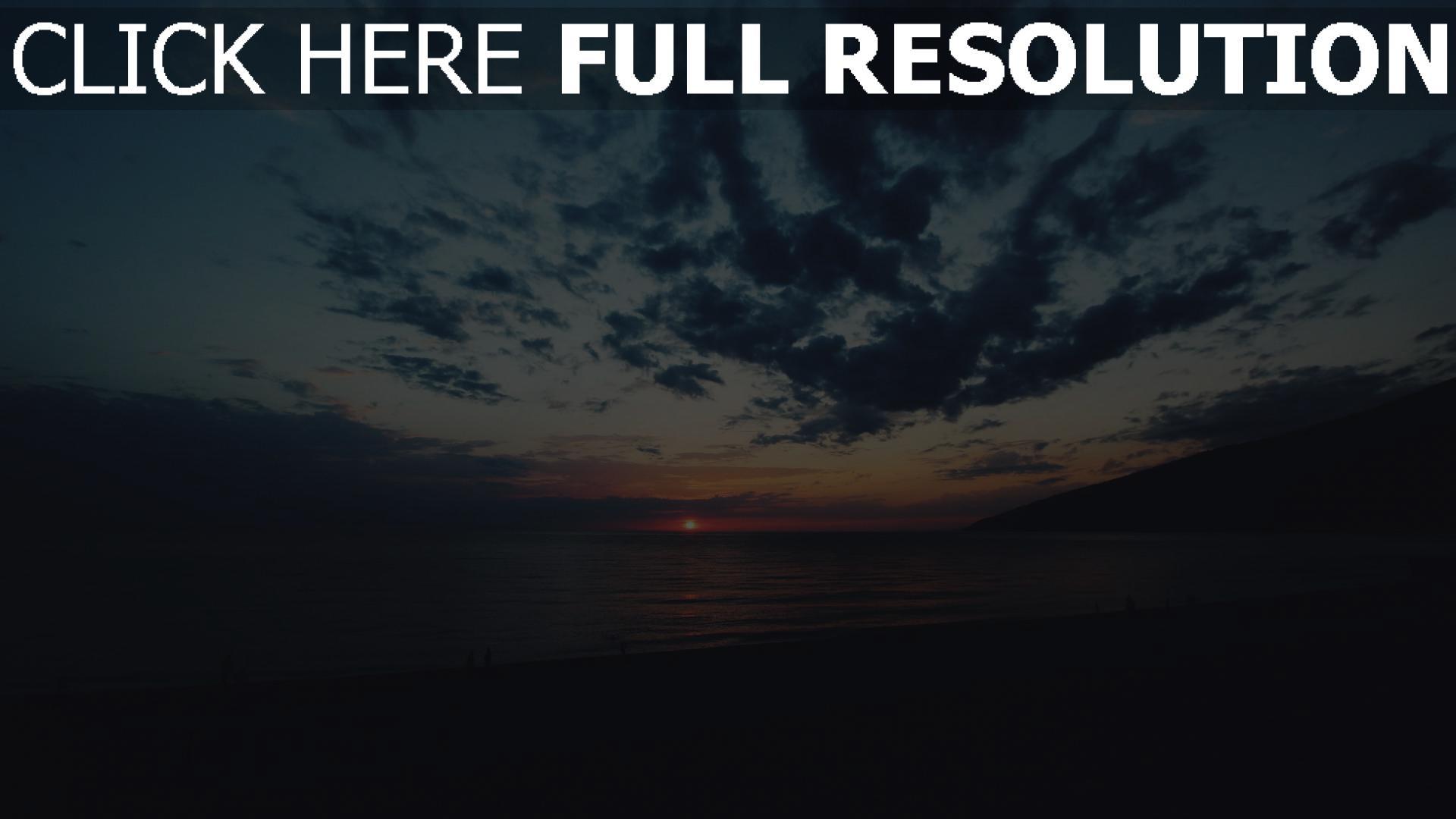 hd hintergrundbilder meer strand wolken sonnenuntergang 1920x1080
