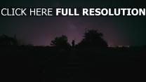 nacht sternenhimmel mann eisenbahn