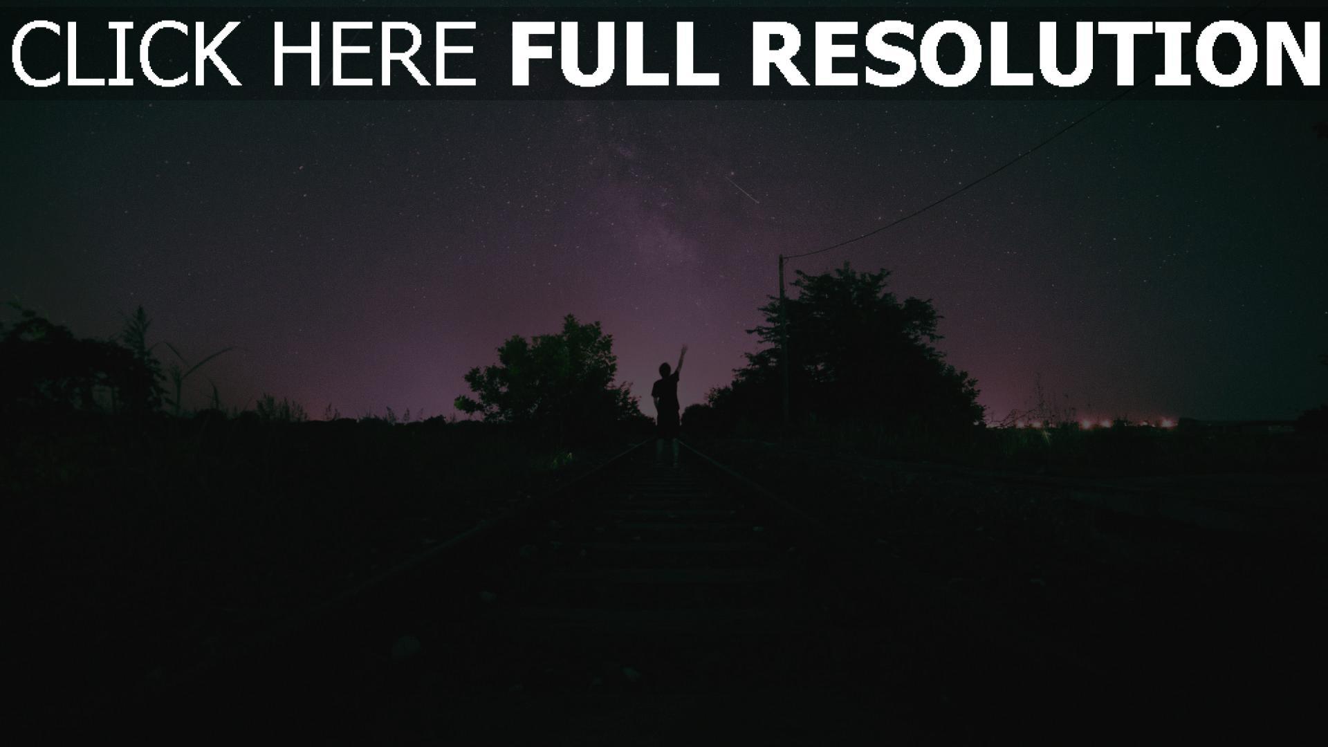hd hintergrundbilder nacht sternenhimmel mann eisenbahn 1920x1080