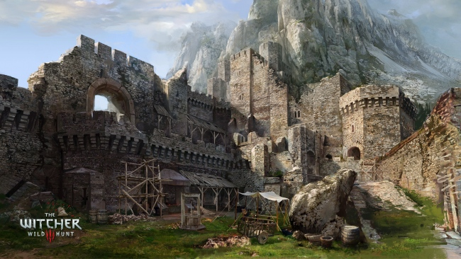 hd hintergrundbilder witcher 3 wild hunt schloss ruinen berge