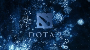 dota 2 logo blau hintergrund schneeflocken