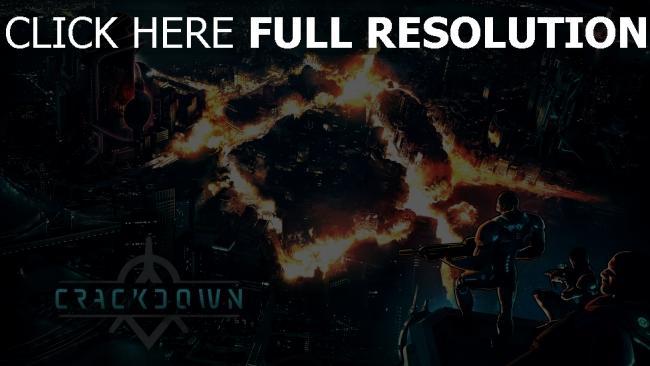 hd hintergrundbilder logo crackdown 3 reagent games haus soldaten stadt feuer