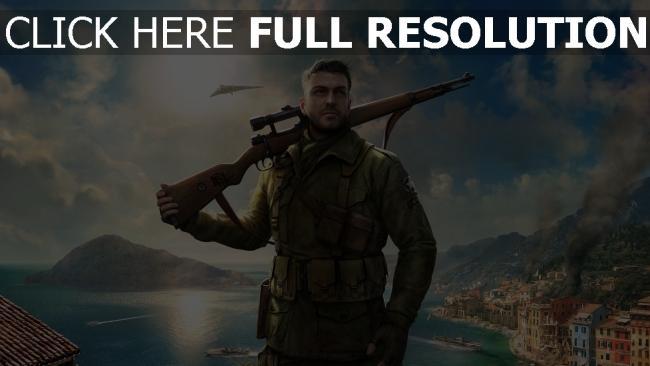 hd hintergrundbilder gewehr soldat sniper elite 4 stadt