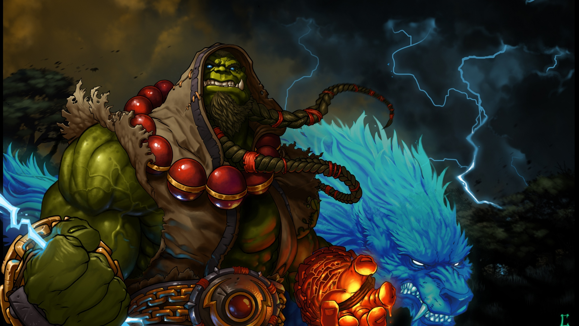 hd hintergrundbilder orc schamane world of warcraft blizzard thrall blitz 1920x1080