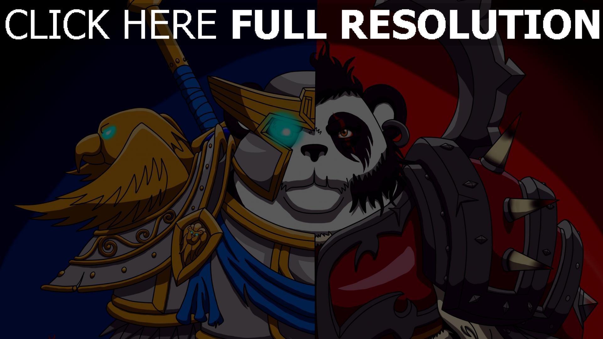 hd hintergrundbilder allianz und horde panda world of warcraft wow 1920x1080
