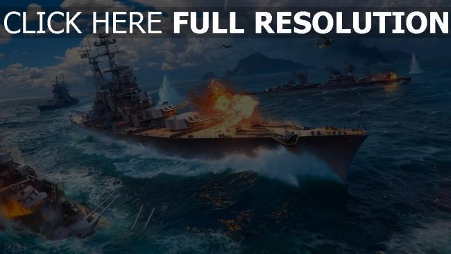 hd hintergrundbilder schiff world of warships explosion wargaming net