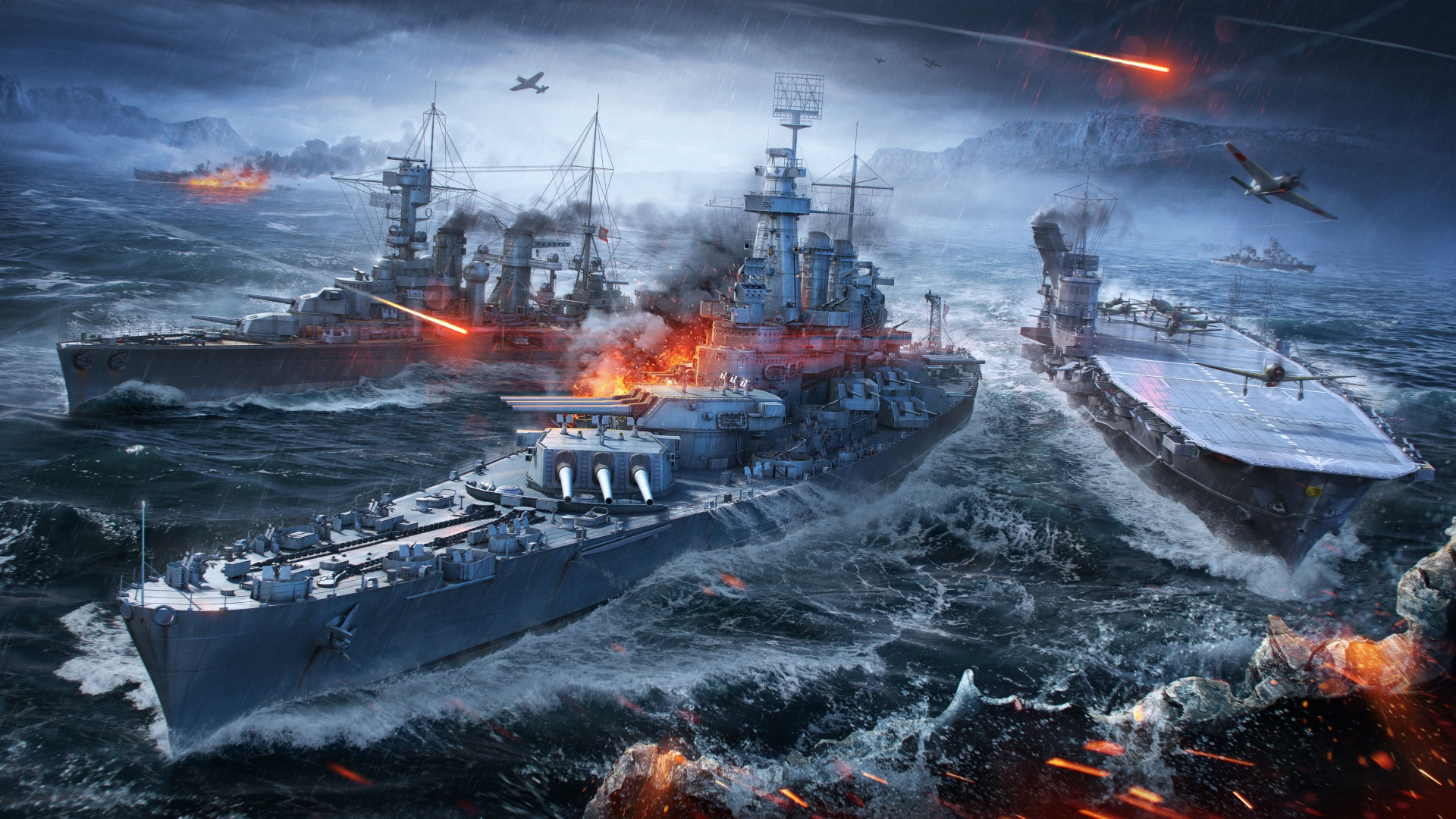 hd hintergrundbilder schiffe meer wargaming net world of warships 1920x1080