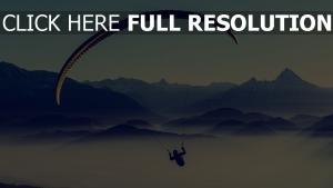 berge nebel himmel fliegen paragleiten
