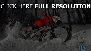 fahrrad rennen schnee wald