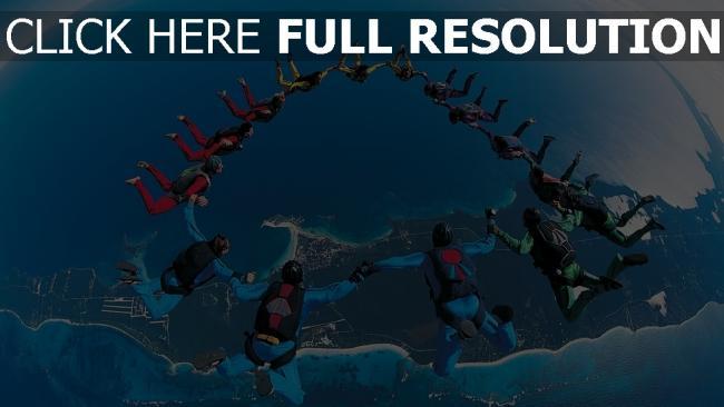 hd hintergrundbilder fallschirmspringen springen team synchronizität höhe