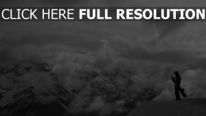 berge felsen gebirge mann snowboarden
