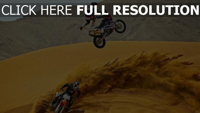 hd hintergrundbilder wüste rennsport motorrad springen trick
