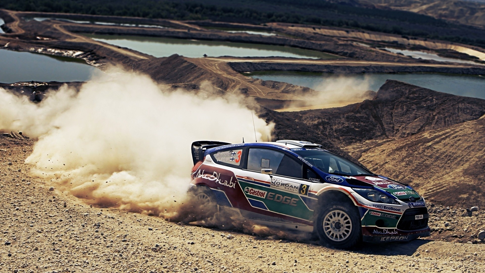 Hd Hintergrundbilder Ford Rallye Abu Dhabi Staub Desktop