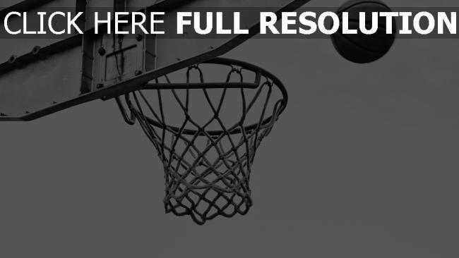 hd hintergrundbilder basketball schwarz-weiß netz ring