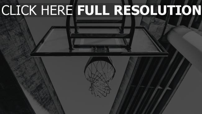 hd hintergrundbilder schwarz-weiß basketball ring netz brücke