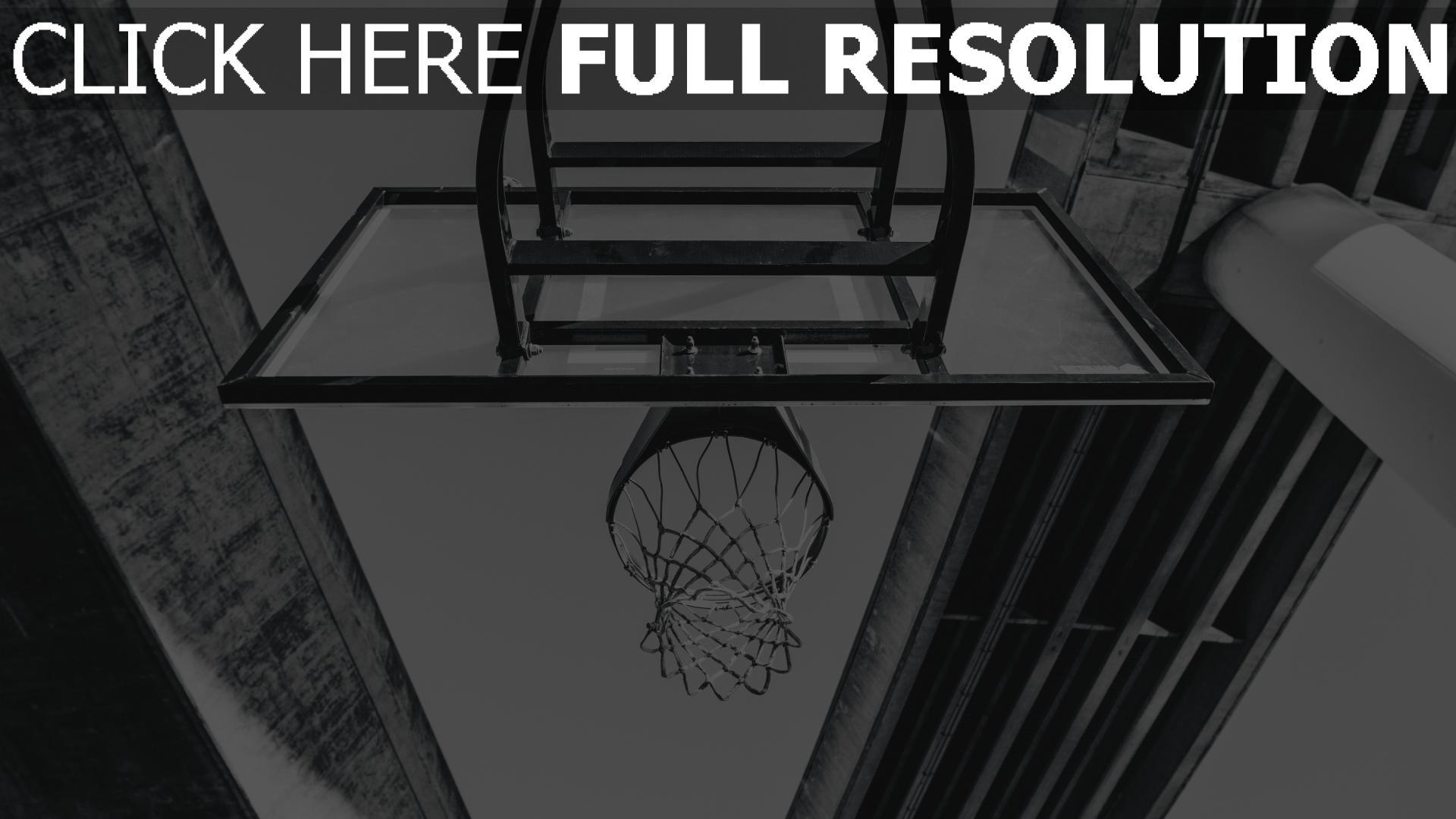 hd hintergrundbilder schwarz-weiß basketball ring netz brücke 1920x1080