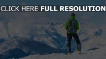 gipfel tourist berg sportler skifahren