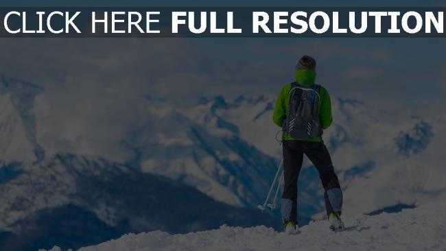 hd hintergrundbilder gipfel tourist berg sportler skifahren