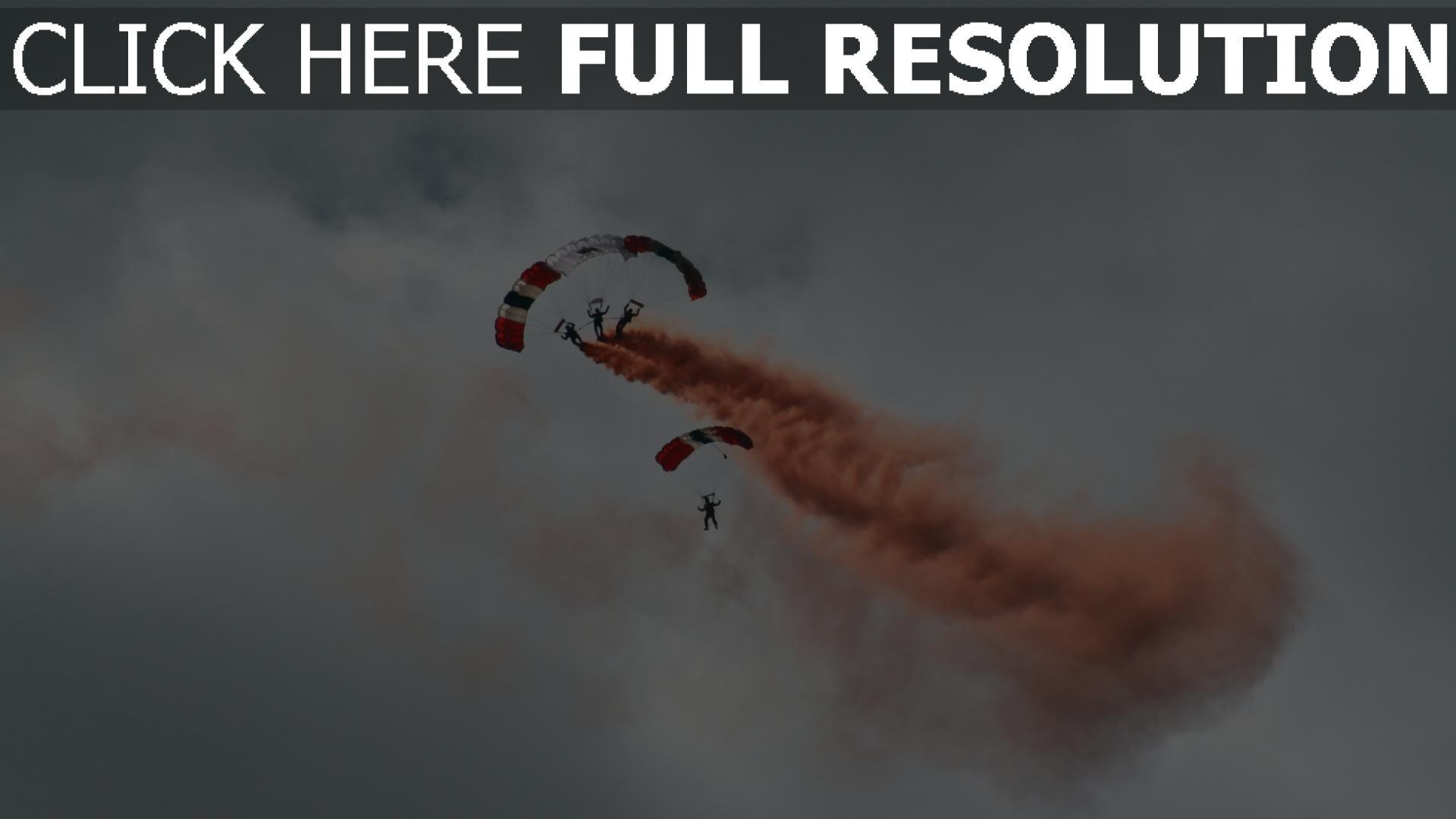 hd hintergrundbilder flug gleitschirm rauch himmel 1920x1080
