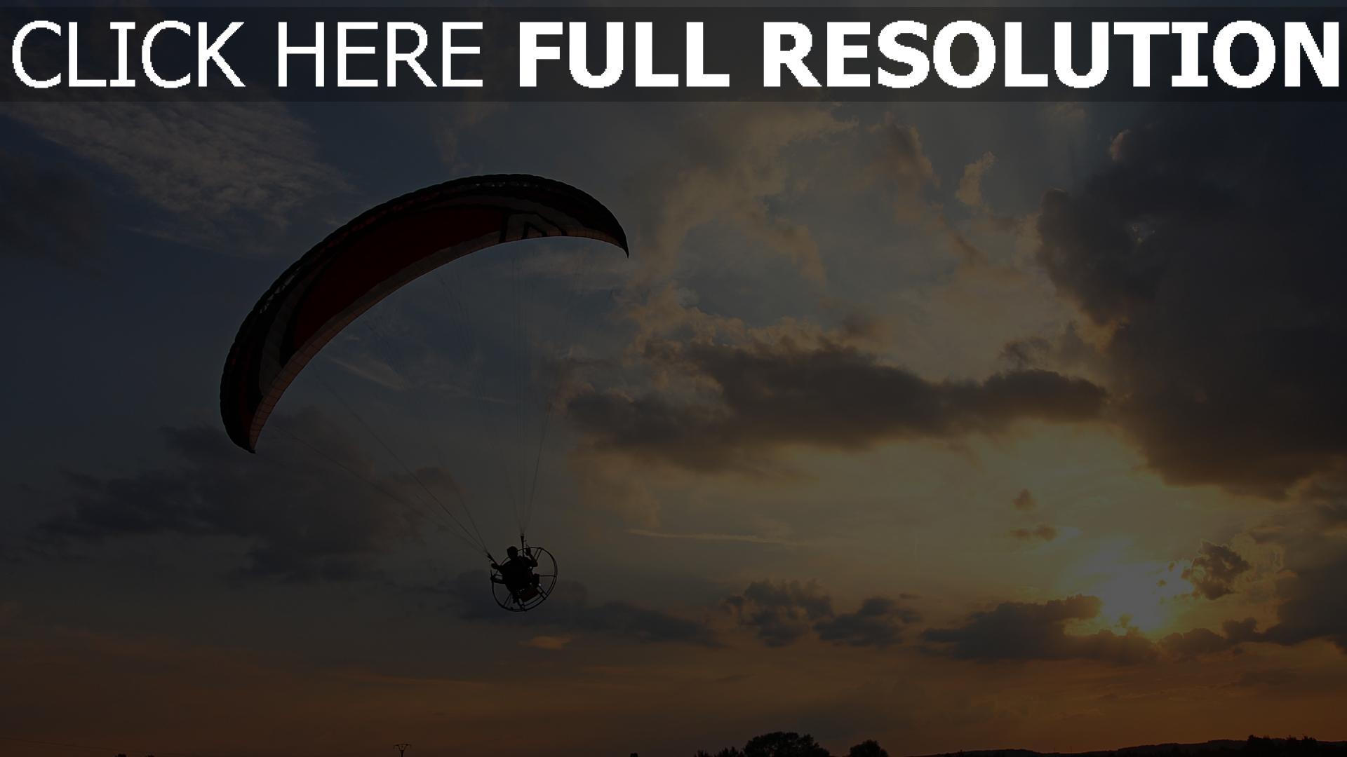 hd hintergrundbilder flug sonnenuntergang gleitschirm himmel 1920x1080