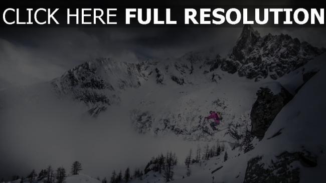 hd hintergrundbilder skifahren schnee sprung skifahrer berge