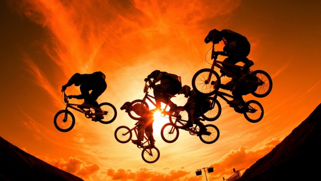 hd hintergrundbilder sonnenuntergang sonne himmel radfahrer