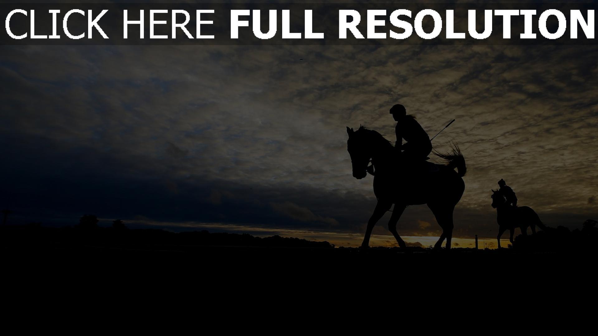 hd hintergrundbilder pferderennen silhouette himmel pferd belmont stakes 1920x1080