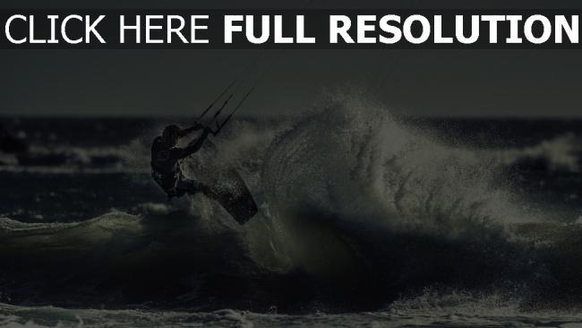 hd hintergrundbilder meer sportler kite-surfen welle
