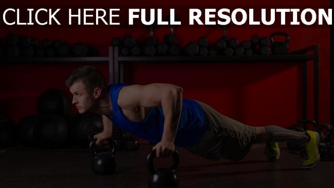 hd hintergrundbilder liegestütze gewichte bewegung sport mann