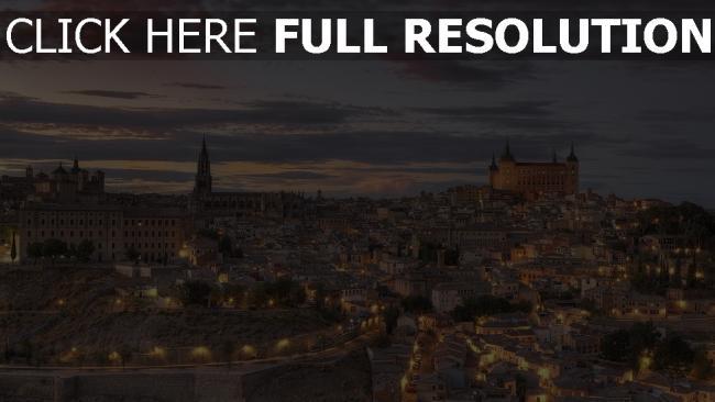 hd hintergrundbilder toledo stadt vintage spanien abenddämmerung