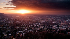 stadt häuser sonnenuntergang sonne deutschland