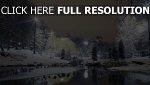 park winter schnee wasser licht stadt