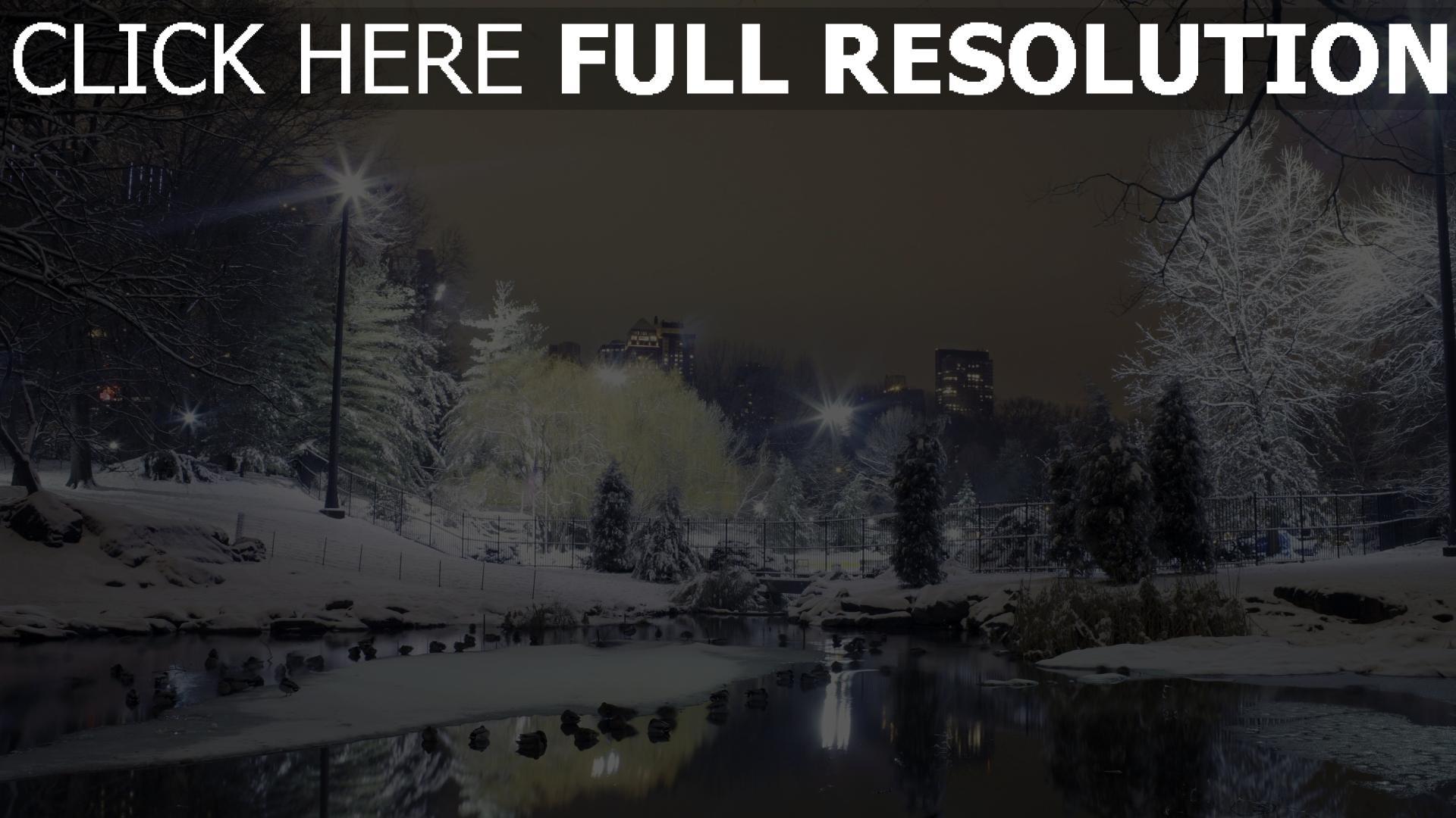 herunterladen 1920x1080 full hd hintergrundbilder park winter schnee wasser licht stadt 1080p. Black Bedroom Furniture Sets. Home Design Ideas