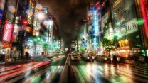 tokyo stadt abend lichter neon straße