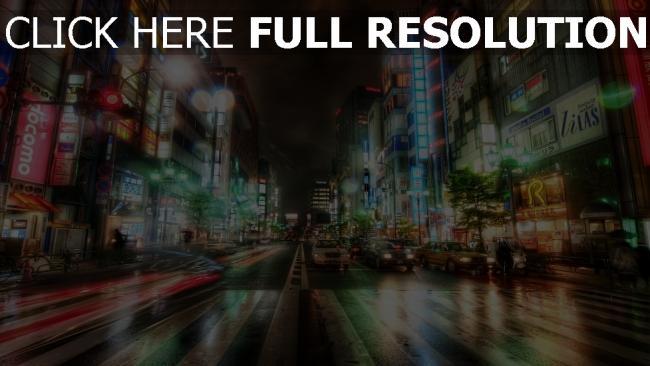 hd hintergrundbilder tokyo stadt abend lichter neon straße