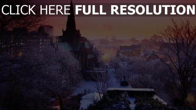 hd hintergrundbilder stadt häuser bäume winter schnee