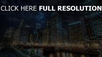 chicago kanal hochhäuser licht reflexion
