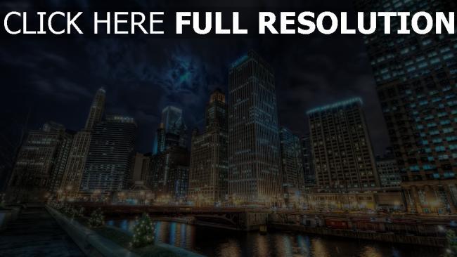 hd hintergrundbilder chicago kanal hochhäuser licht reflexion